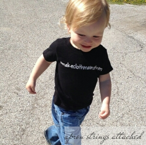 My little guy in his #makeclothmainstream t-shirt <3